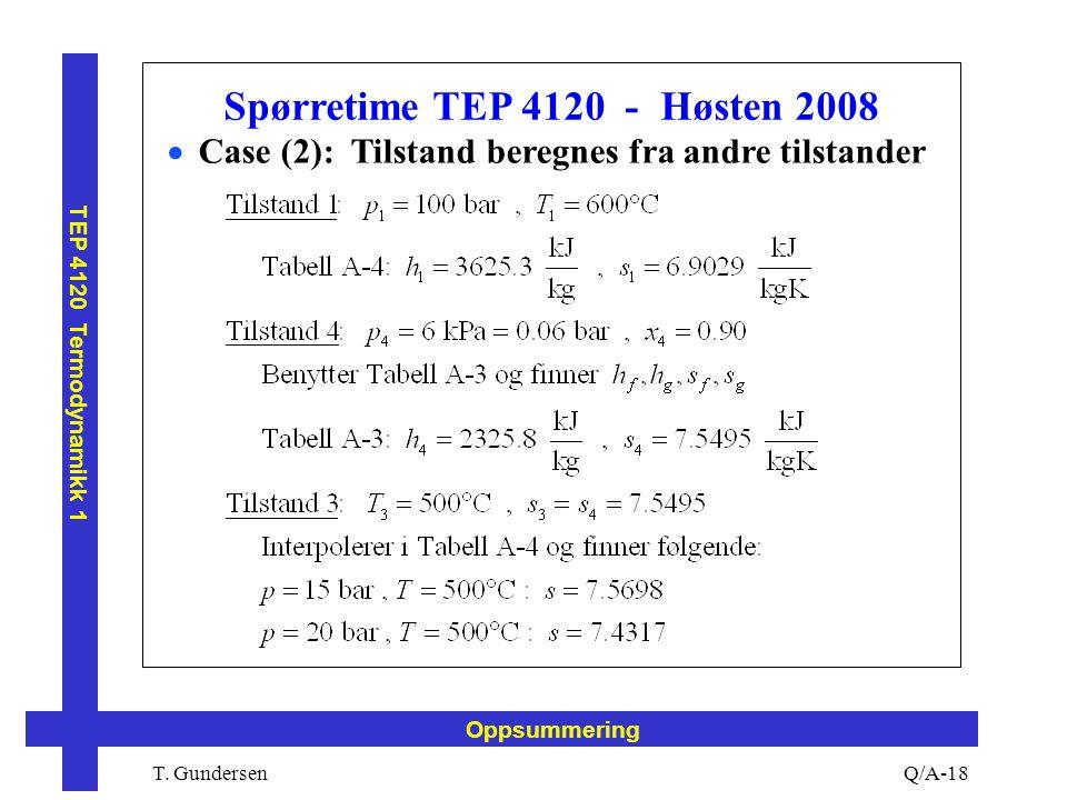 T. Gundersen TEP 4120 Termodynamikk 1 Q/A-18 Oppsummering Spørretime TEP 4120 - Høsten 2008  Case (2): Tilstand beregnes fra andre tilstander