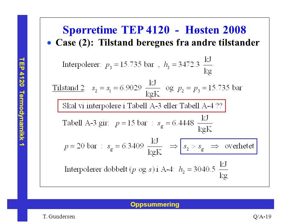T. Gundersen TEP 4120 Termodynamikk 1 Q/A-19 Oppsummering Spørretime TEP 4120 - Høsten 2008  Case (2): Tilstand beregnes fra andre tilstander