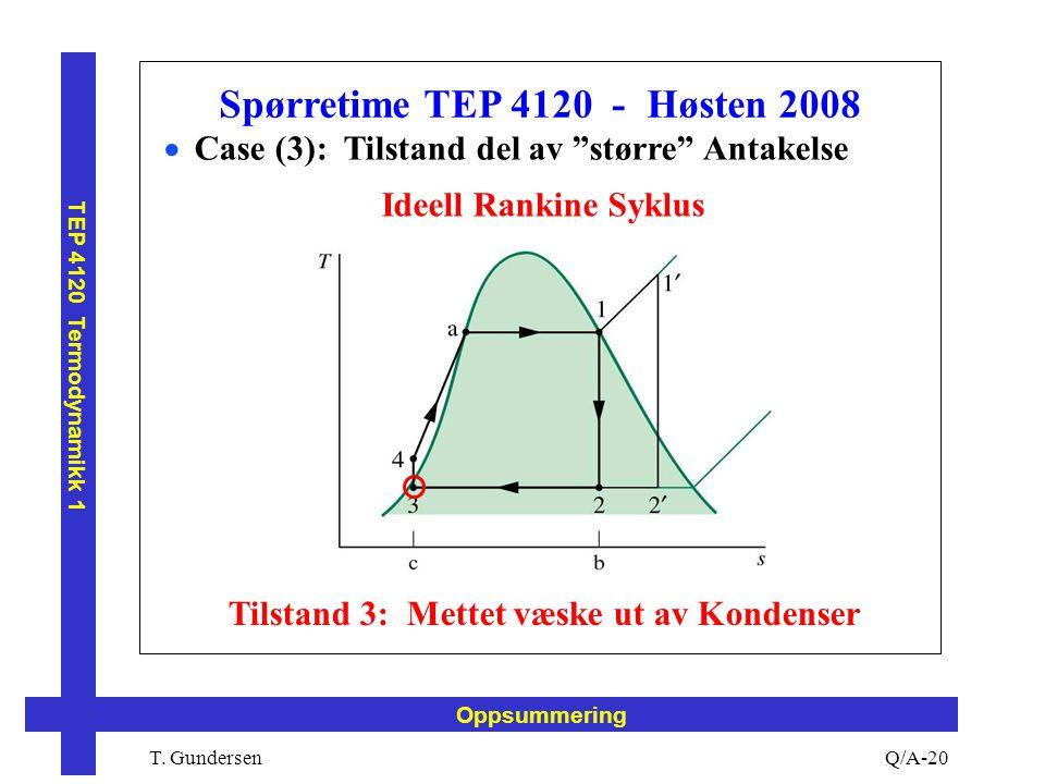 """T. Gundersen TEP 4120 Termodynamikk 1 Q/A-20 Oppsummering Spørretime TEP 4120 - Høsten 2008  Case (3): Tilstand del av """"større"""" Antakelse Ideell Rank"""