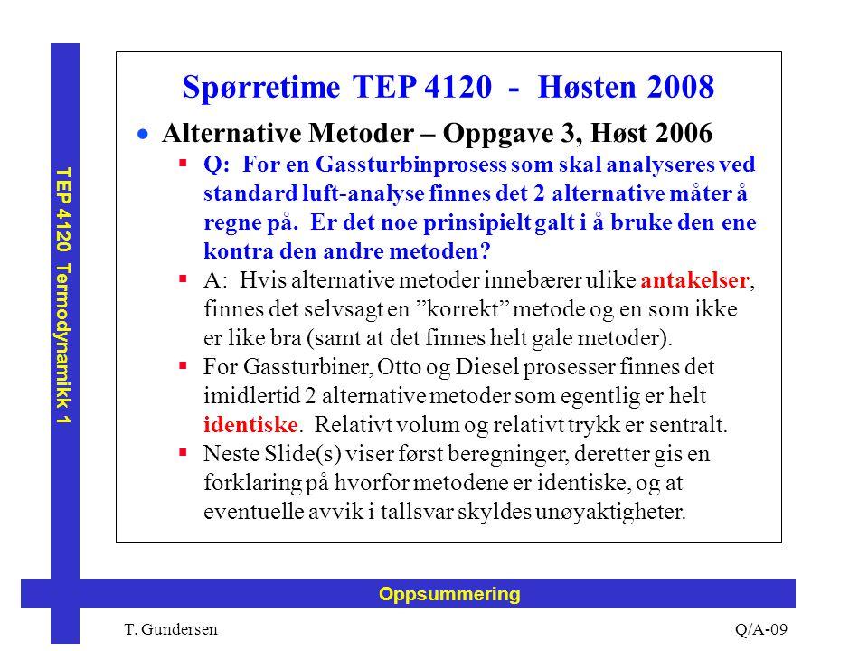 T. Gundersen TEP 4120 Termodynamikk 1 Q/A-09 Oppsummering Spørretime TEP 4120 - Høsten 2008  Alternative Metoder – Oppgave 3, Høst 2006  Q: For en G