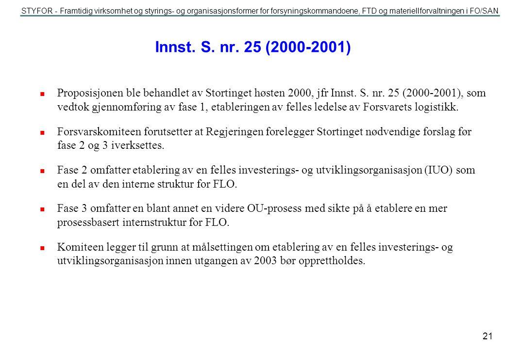STYFOR - Framtidig virksomhet og styrings- og organisasjonsformer for forsyningskommandoene, FTD og materiellforvaltningen i FO/SAN 21 Innst.