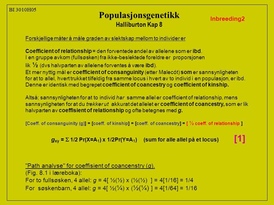 BI 3010H05 Populasjonsgenetikk Halliburton Kap 8 Inbreeding2 Forskjellige måter å måle graden av slektskap mellom to individer er Coefficient of relationship = den forventede andel av allelene som er ibd.