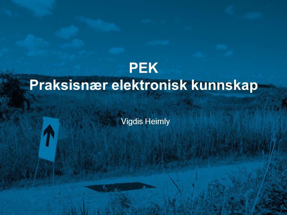 PEK Praksisnær elektronisk kunnskap Vigdis Heimly