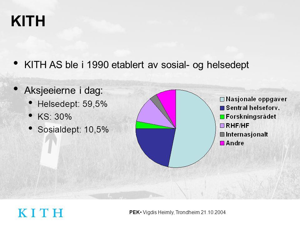 PEK Vigdis Heimly, Trondheim 21.10.2004 KITH KITH AS ble i 1990 etablert av sosial- og helsedept Aksjeeierne i dag: Helsedept: 59,5% KS: 30% Sosialdep