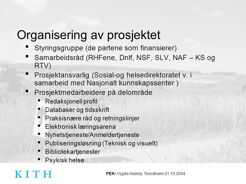 PEK Vigdis Heimly, Trondheim 21.10.2004 Organisering av prosjektet Styringsgruppe (de partene som finansierer) Samarbeidsråd (RHFene, Dnlf, NSF, SLV,