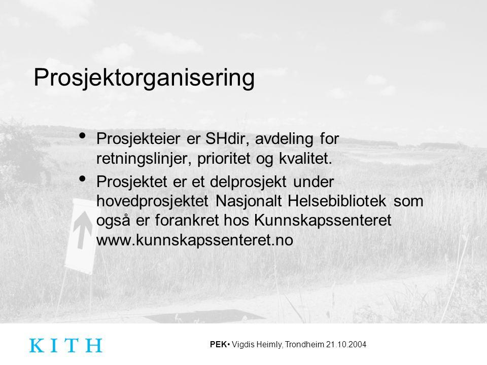 PEK Vigdis Heimly, Trondheim 21.10.2004 Prosjektorganisering Prosjekteier er SHdir, avdeling for retningslinjer, prioritet og kvalitet. Prosjektet er