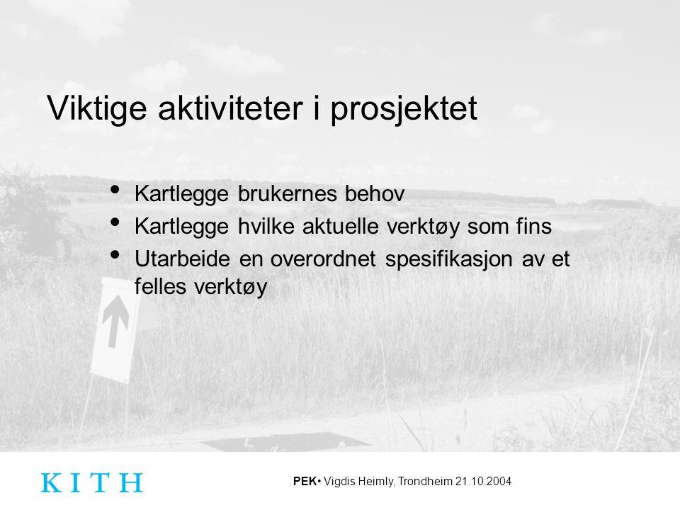 PEK Vigdis Heimly, Trondheim 21.10.2004 Viktige aktiviteter i prosjektet Kartlegge brukernes behov Kartlegge hvilke aktuelle verktøy som fins Utarbeid