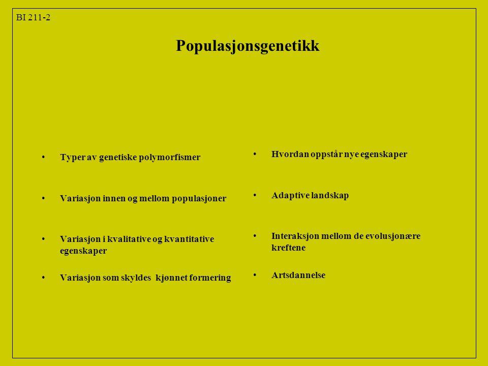 BI 211-23 Populasjonsgenetikk Kap.