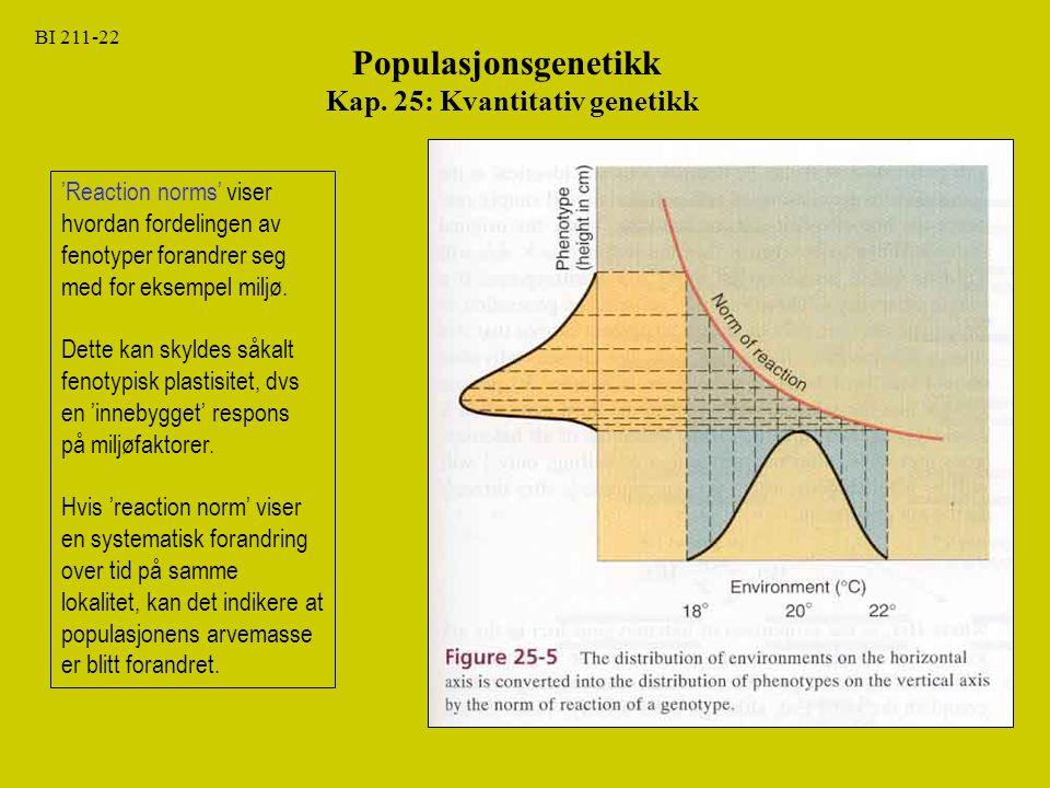 BI 211-22 Populasjonsgenetikk Kap. 25: Kvantitativ genetikk 'Reaction norms' viser hvordan fordelingen av fenotyper forandrer seg med for eksempel mil