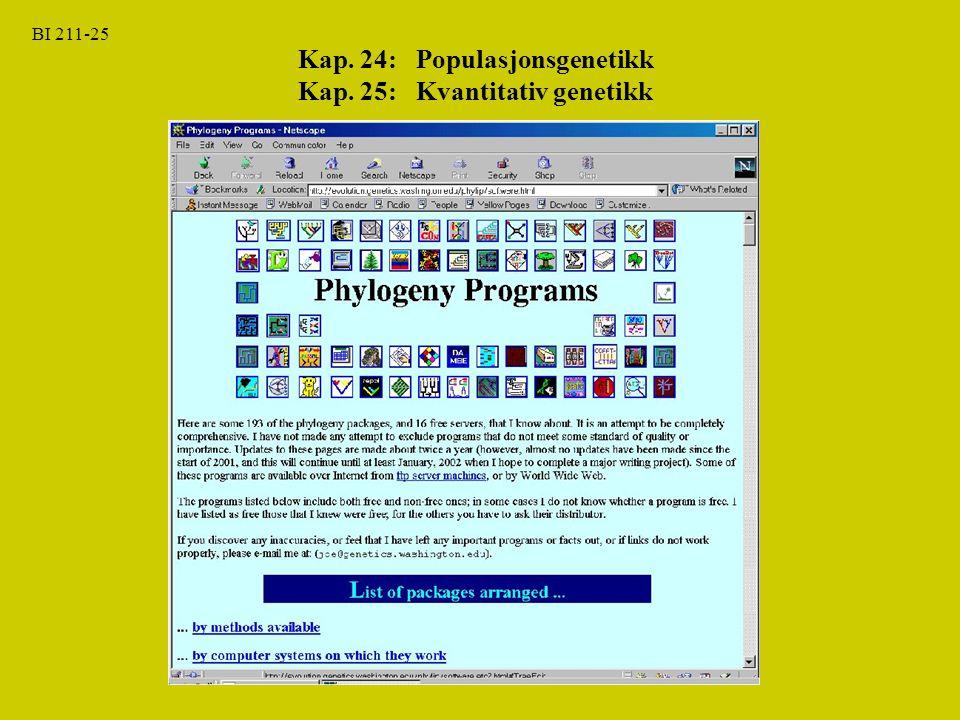 BI 211-25 Kap. 24: Populasjonsgenetikk Kap. 25: Kvantitativ genetikk
