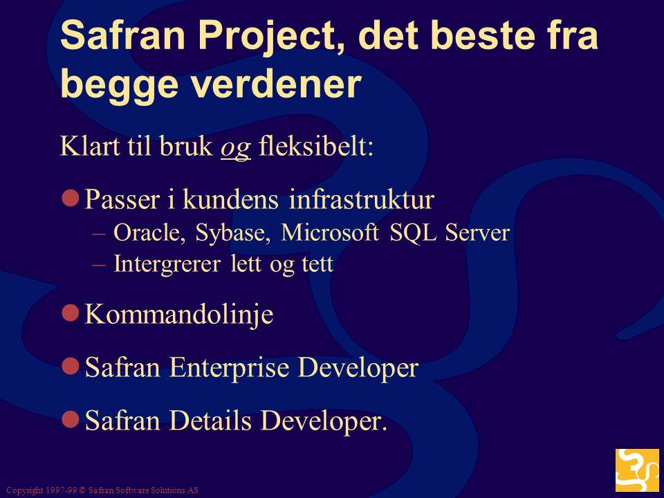 Copyright 1997-99 © Safran Software Solutions AS Safran Project, det beste fra begge verdener De to verdener: Ferdiglagede applikasjoner Tilpasninger