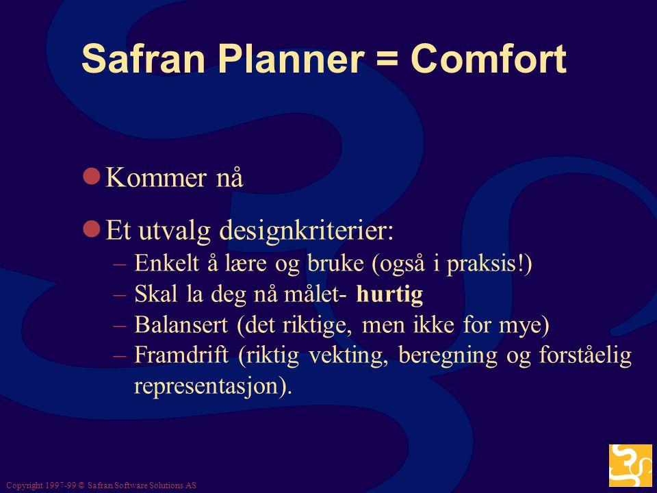 Copyright 1997-99 © Safran Software Solutions AS Posisjonering Planlegge og styre prosjekter mer effektivt og med høyere kvalitet Working Smarter Safr