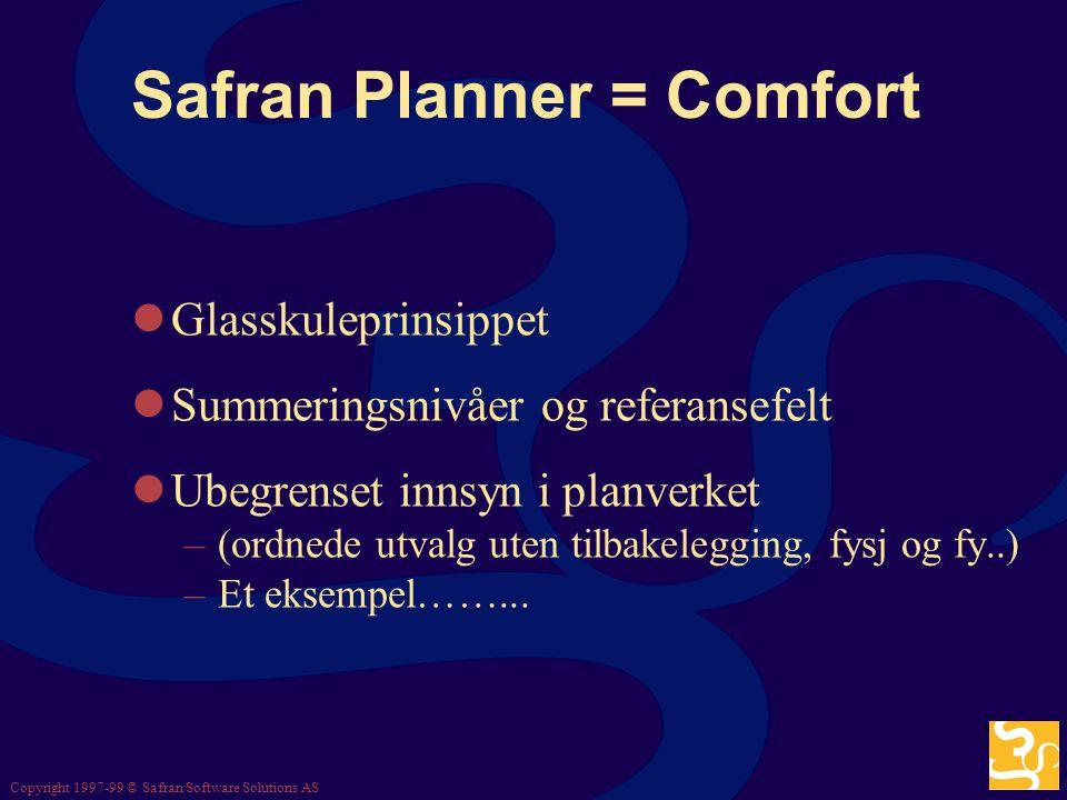 Copyright 1997-99 © Safran Software Solutions AS Safran Planner = Comfort Kommer nå Et utvalg designkriterier: –Enkelt å lære og bruke (også i praksis