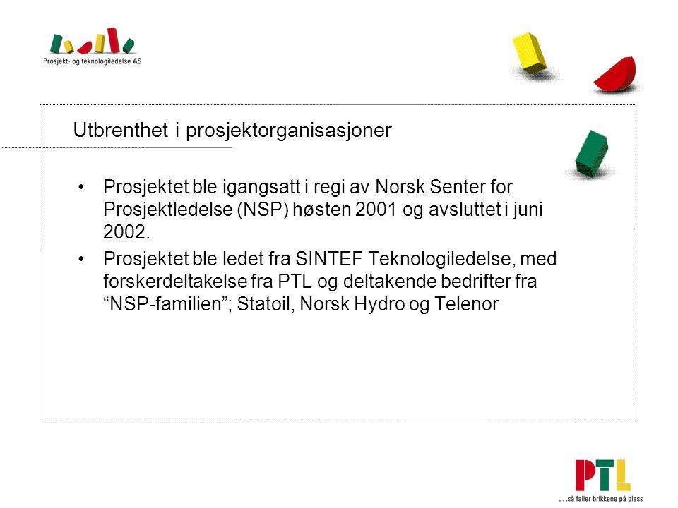 Utbrenthet i prosjektorganisasjoner Prosjektet ble igangsatt i regi av Norsk Senter for Prosjektledelse (NSP) høsten 2001 og avsluttet i juni 2002.