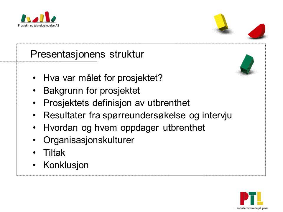 Presentasjonens struktur Hva var målet for prosjektet.