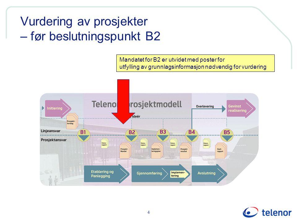 4 Vurdering av prosjekter – før beslutningspunkt B2 Mandatet for B2 er utvidet med poster for utfylling av grunnlagsinformasjon nødvendig for vurderin