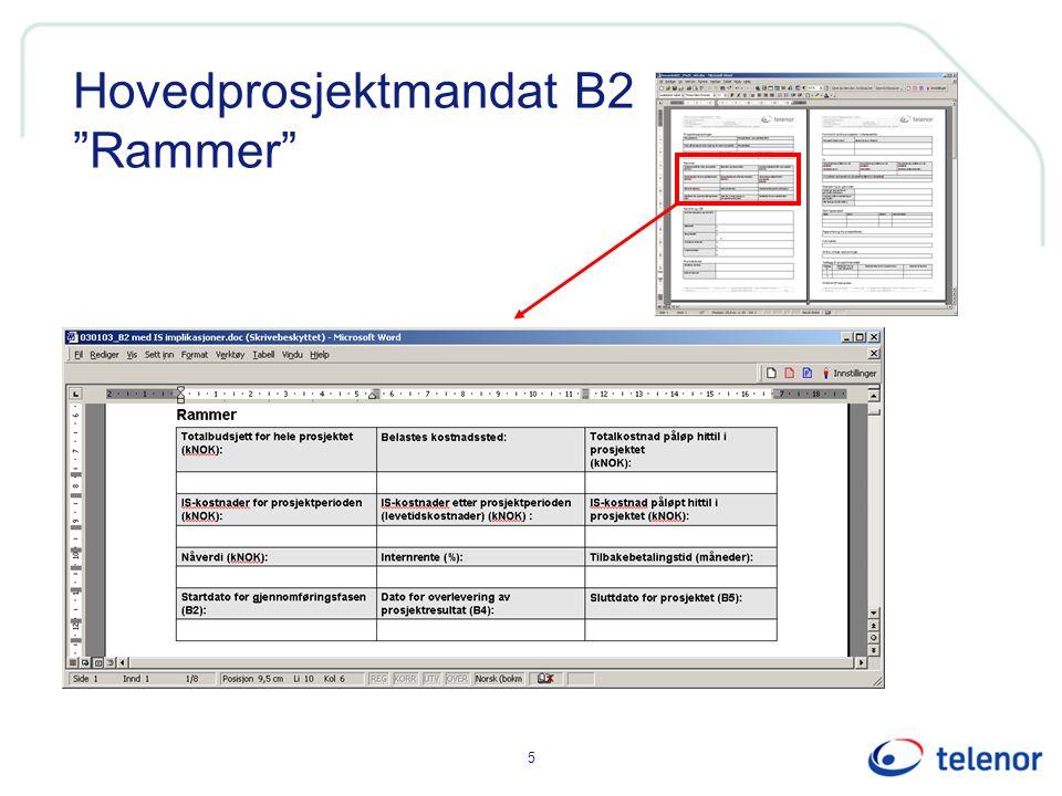 "5 Hovedprosjektmandat B2 ""Rammer"""