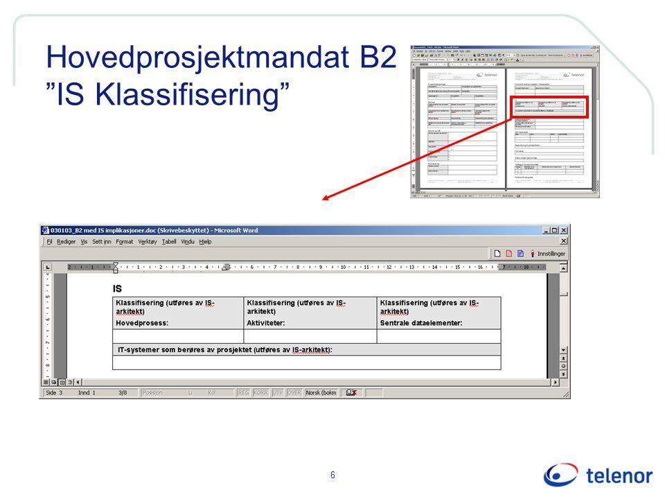 """6 Hovedprosjektmandat B2 """"IS Klassifisering"""""""