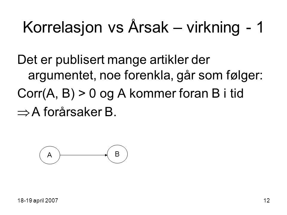 18-19 april 200712 Korrelasjon vs Årsak – virkning - 1 Det er publisert mange artikler der argumentet, noe forenkla, går som følger: Corr(A, B) > 0 og A kommer foran B i tid  A forårsaker B.