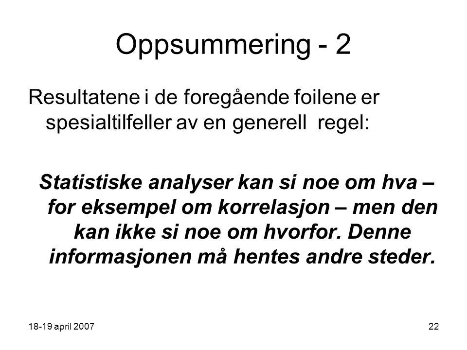 18-19 april 200722 Oppsummering - 2 Resultatene i de foregående foilene er spesialtilfeller av en generell regel: Statistiske analyser kan si noe om hva – for eksempel om korrelasjon – men den kan ikke si noe om hvorfor.