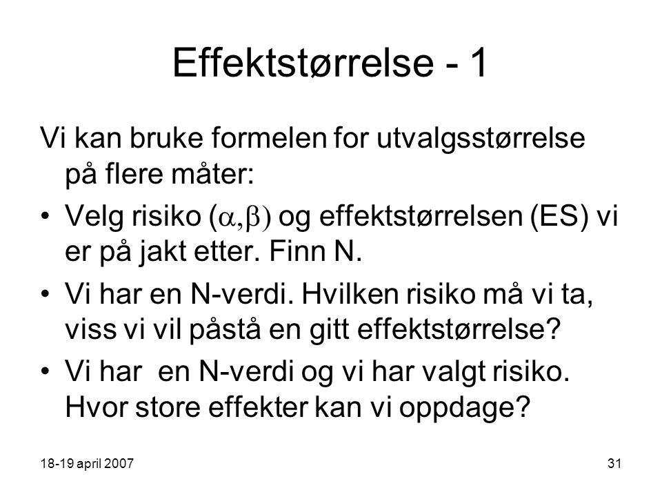 18-19 april 200731 Effektstørrelse - 1 Vi kan bruke formelen for utvalgsstørrelse på flere måter: Velg risiko (  og effektstørrelsen (ES) vi er på jakt etter.