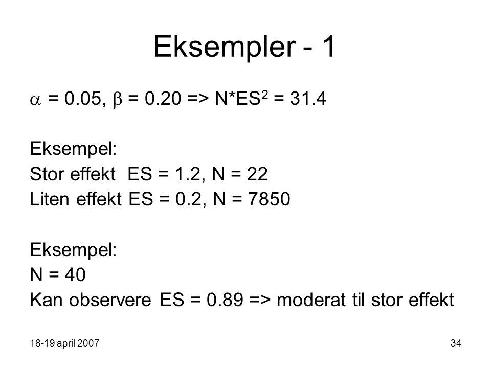 18-19 april 200734 Eksempler - 1  = 0.05,  = 0.20 => N*ES 2 = 31.4 Eksempel: Stor effekt ES = 1.2, N = 22 Liten effekt ES = 0.2, N = 7850 Eksempel: N = 40 Kan observere ES = 0.89 => moderat til stor effekt