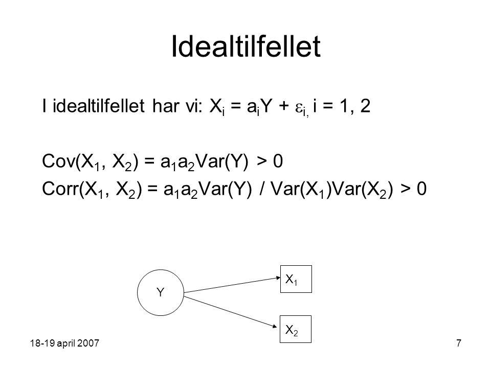 18-19 april 20077 Idealtilfellet I idealtilfellet har vi: X i = a i Y +  i, i = 1, 2 Cov(X 1, X 2 ) = a 1 a 2 Var(Y) > 0 Corr(X 1, X 2 ) = a 1 a 2 Var(Y) / Var(X 1 )Var(X 2 ) > 0 Y X1X1 X2X2