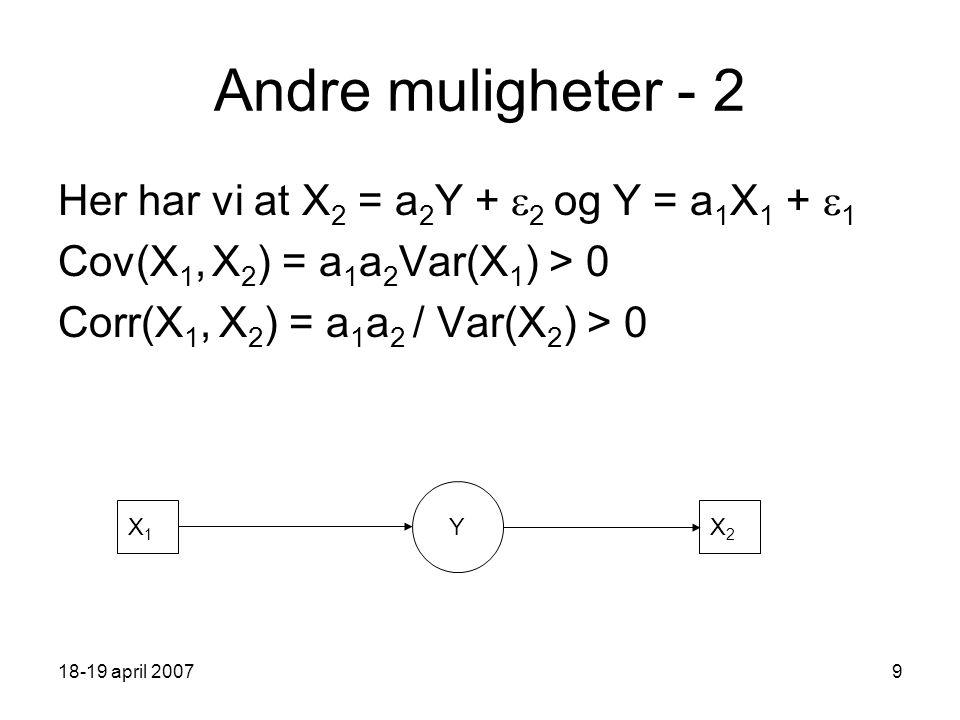 18-19 april 20079 Andre muligheter - 2 Her har vi at X 2 = a 2 Y +  2 og Y = a 1 X 1 +  1 Cov(X 1, X 2 ) = a 1 a 2 Var(X 1 ) > 0 Corr(X 1, X 2 ) = a 1 a 2 / Var(X 2 ) > 0 Y X1X1 X2X2