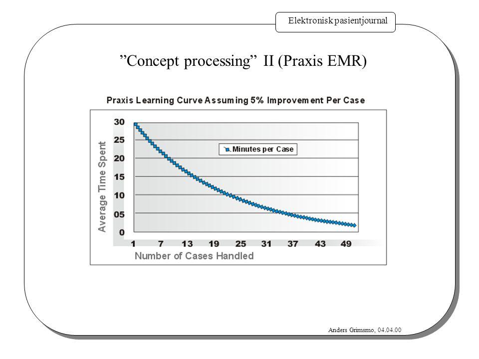 "Elektronisk pasientjournal Anders Grimsmo, 04.04.00 ""Concept processing"" II (Praxis EMR)"