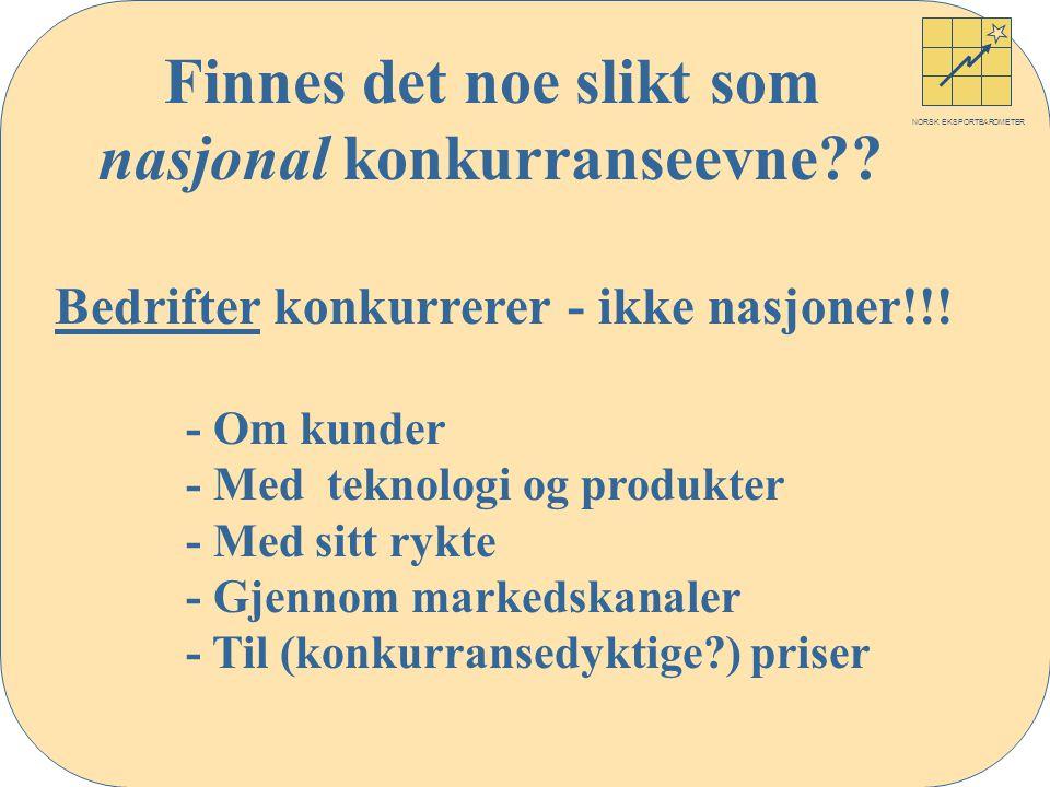 NORSK EKSPORTBAROMETER Finnes det noe slikt som nasjonal konkurranseevne .