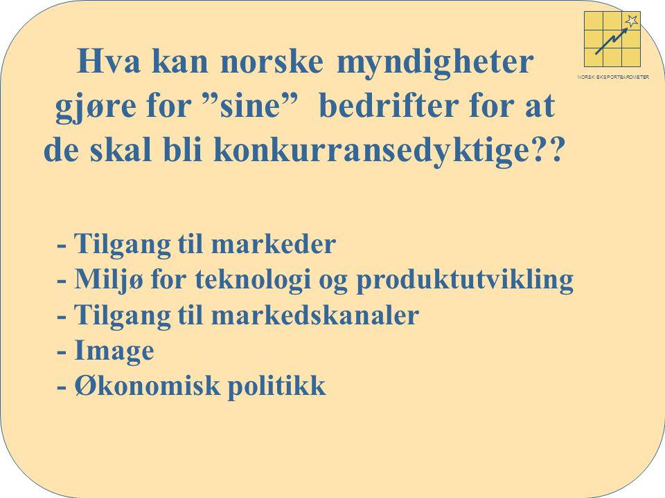 NORSK EKSPORTBAROMETER Hva kan norske myndigheter gjøre for sine bedrifter for at de skal bli konkurransedyktige .