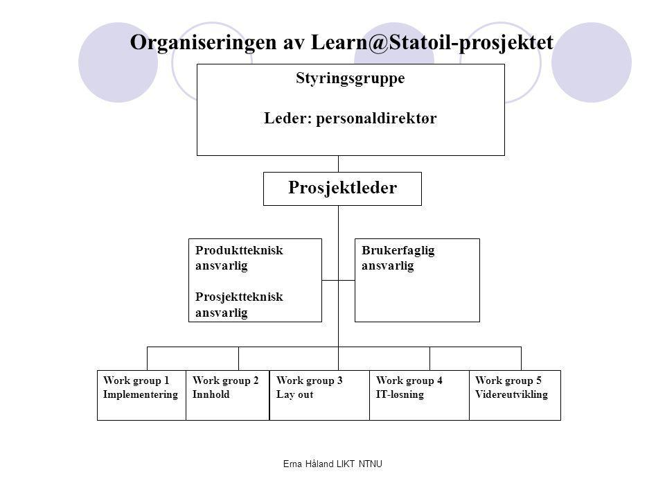 Erna Håland LIKT NTNU Styringsgruppe Leder: personaldirektør Prosjektleder Produktteknisk ansvarlig Prosjektteknisk ansvarlig Brukerfaglig ansvarlig Work group 1 Implementering Work group 2 Innhold Work group 3 Lay out Work group 4 IT-løsning Work group 5 Videreutvikling Organiseringen av Learn@Statoil-prosjektet