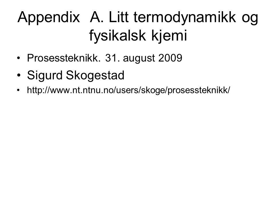 Appendix A.Litt termodynamikk og fysikalsk kjemi Prosessteknikk.