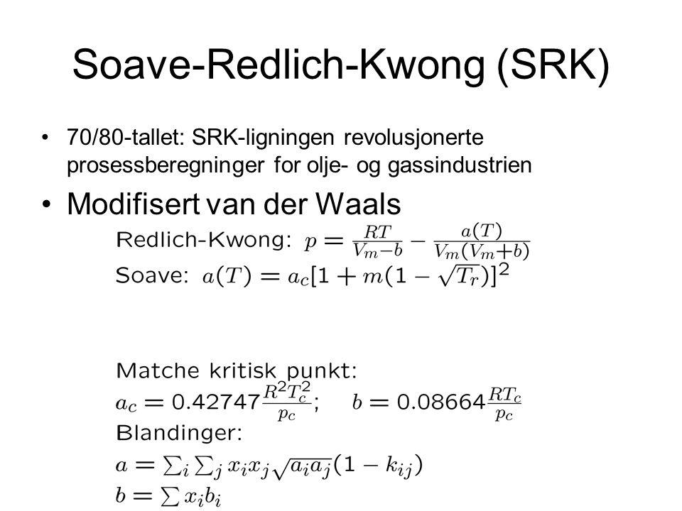 Soave-Redlich-Kwong (SRK) 70/80-tallet: SRK-ligningen revolusjonerte prosessberegninger for olje- og gassindustrien Modifisert van der Waals