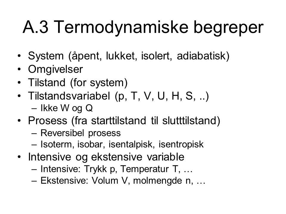 A.3 Termodynamiske begreper System (åpent, lukket, isolert, adiabatisk) Omgivelser Tilstand (for system) Tilstandsvariabel (p, T, V, U, H, S,..) –Ikke W og Q Prosess (fra starttilstand til slutttilstand) –Reversibel prosess –Isoterm, isobar, isentalpisk, isentropisk Intensive og ekstensive variable –Intensive: Trykk p, Temperatur T, … –Ekstensive: Volum V, molmengde n, …