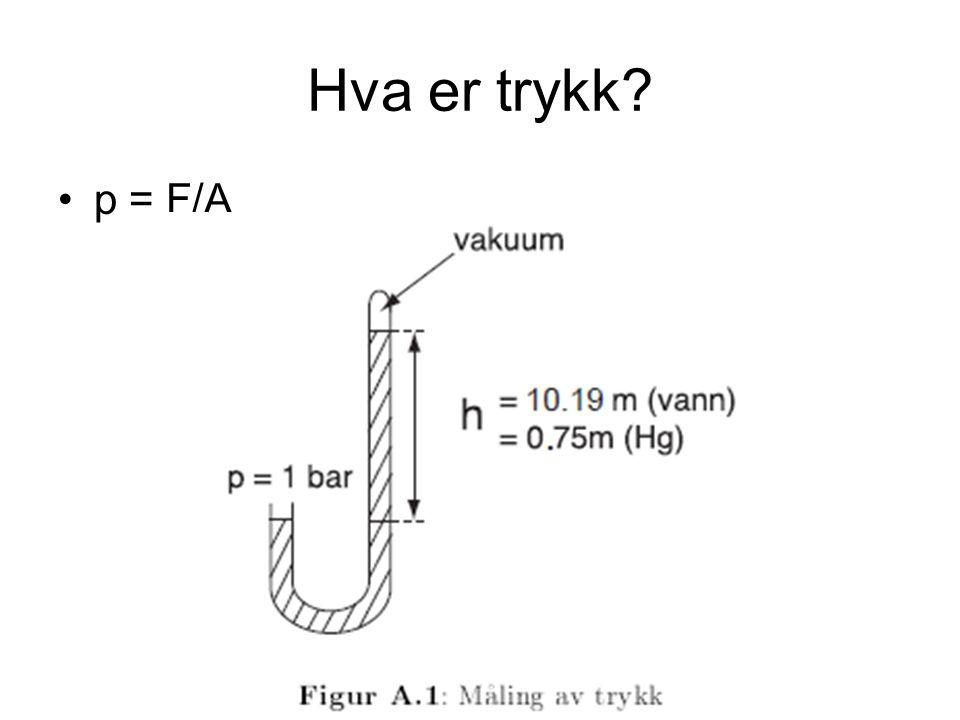 Hva er trykk? p = F/A