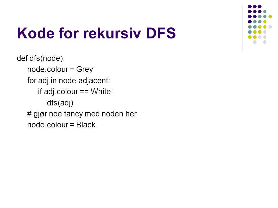 Kode for rekursiv DFS def dfs(node): node.colour = Grey for adj in node.adjacent: if adj.colour == White: dfs(adj) # gjør noe fancy med noden her node.colour = Black