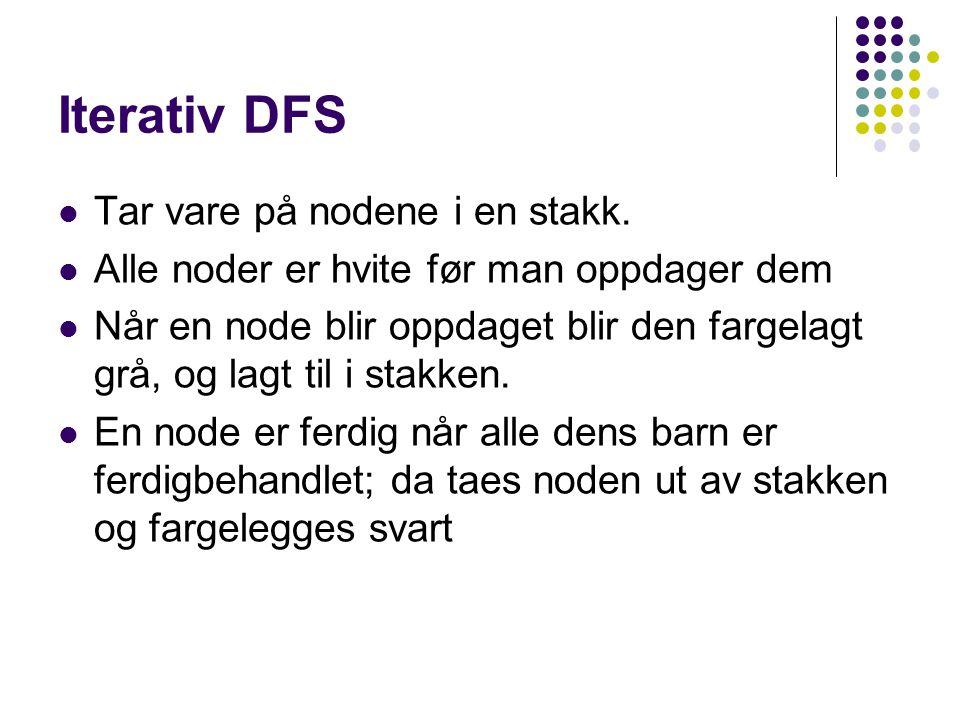 Iterativ DFS Tar vare på nodene i en stakk. Alle noder er hvite før man oppdager dem Når en node blir oppdaget blir den fargelagt grå, og lagt til i s