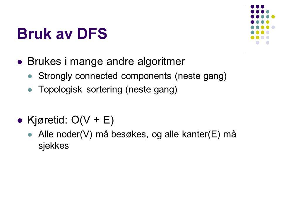 Bruk av DFS Brukes i mange andre algoritmer Strongly connected components (neste gang) Topologisk sortering (neste gang) Kjøretid: O(V + E) Alle noder