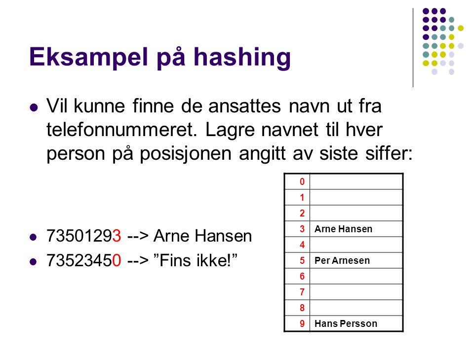 Eksampel på hashing Vil kunne finne de ansattes navn ut fra telefonnummeret. Lagre navnet til hver person på posisjonen angitt av siste siffer: 735012