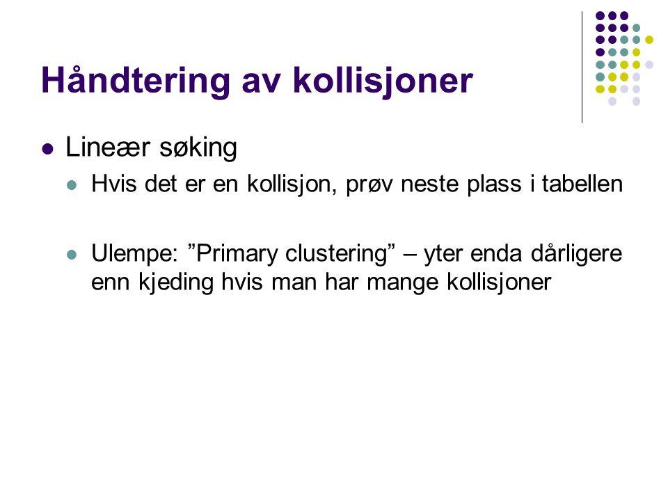 """Håndtering av kollisjoner Lineær søking Hvis det er en kollisjon, prøv neste plass i tabellen Ulempe: """"Primary clustering"""" – yter enda dårligere enn k"""