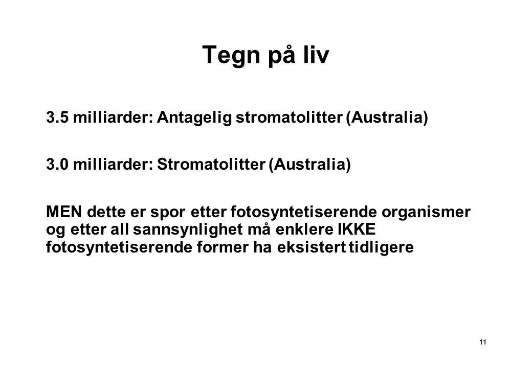 11 Tegn på liv 3.5 milliarder: Antagelig stromatolitter (Australia) 3.0 milliarder: Stromatolitter (Australia) MEN dette er spor etter fotosyntetisere