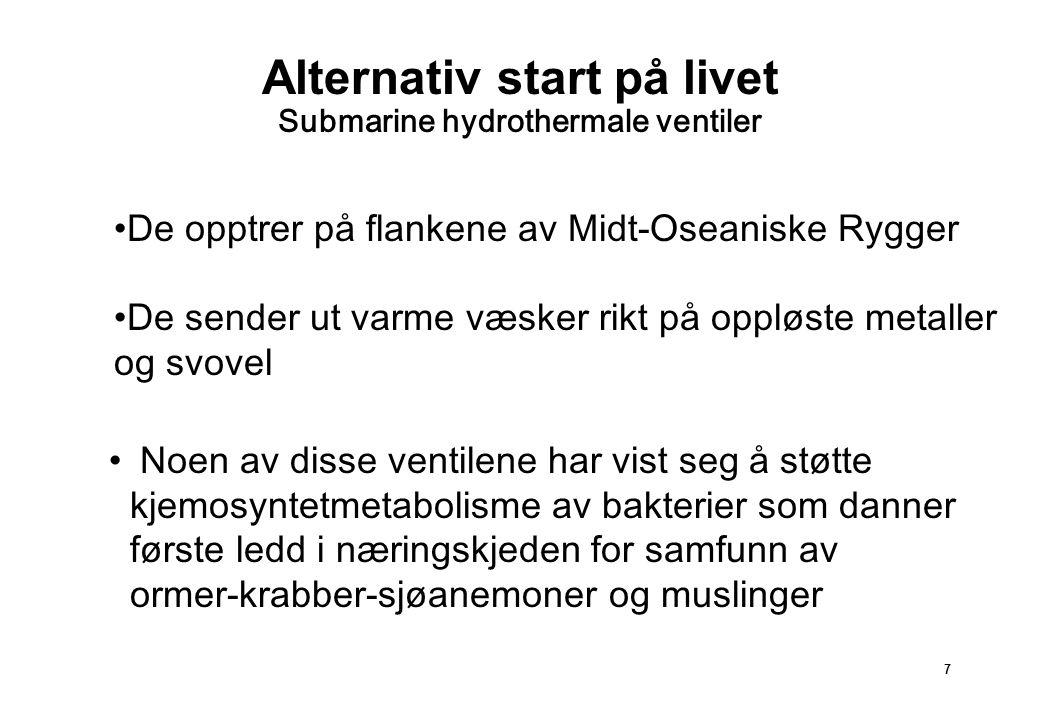 7 Alternativ start på livet Submarine hydrothermale ventiler Noen av disse ventilene har vist seg å støtte kjemosyntetmetabolisme av bakterier som dan