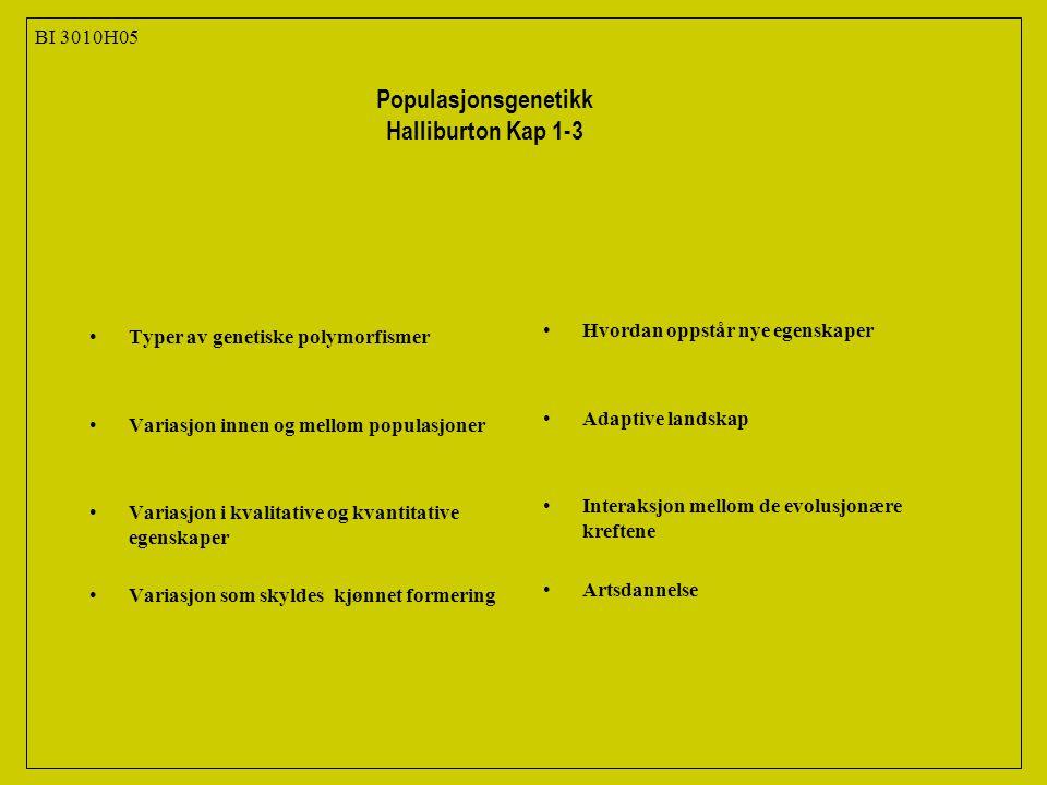 Typer av genetiske polymorfismer Variasjon innen og mellom populasjoner Variasjon i kvalitative og kvantitative egenskaper Variasjon som skyldes kjønnet formering Hvordan oppstår nye egenskaper Adaptive landskap Interaksjon mellom de evolusjonære kreftene Artsdannelse BI 3010H05 Populasjonsgenetikk Halliburton Kap 1-3