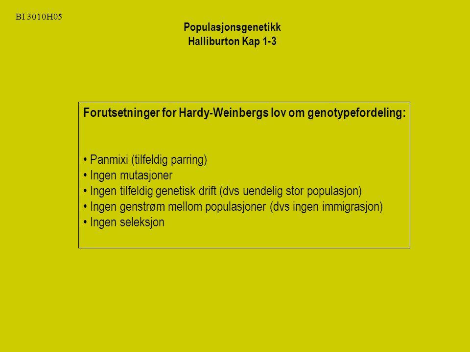 BI 3010H05 Forutsetninger for Hardy-Weinbergs lov om genotypefordeling: Panmixi (tilfeldig parring) Ingen mutasjoner Ingen tilfeldig genetisk drift (dvs uendelig stor populasjon) Ingen genstrøm mellom populasjoner (dvs ingen immigrasjon) Ingen seleksjon Populasjonsgenetikk Halliburton Kap 1-3