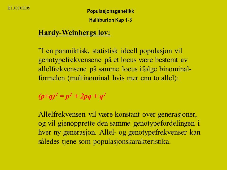 BI 3010H05 Hardy-Weinbergs lov: I en panmiktisk, statistisk ideell populasjon vil genotypefrekvensene på et locus være bestemt av allelfrekvensene på samme locus ifølge binominal- formelen (multinominal hvis mer enn to allel): (p+q) 2 = p 2 + 2pq + q 2 Allelfrekvensen vil være konstant over generasjoner, og vil gjenopprette den samme genotypefordelingen i hver ny generasjon.