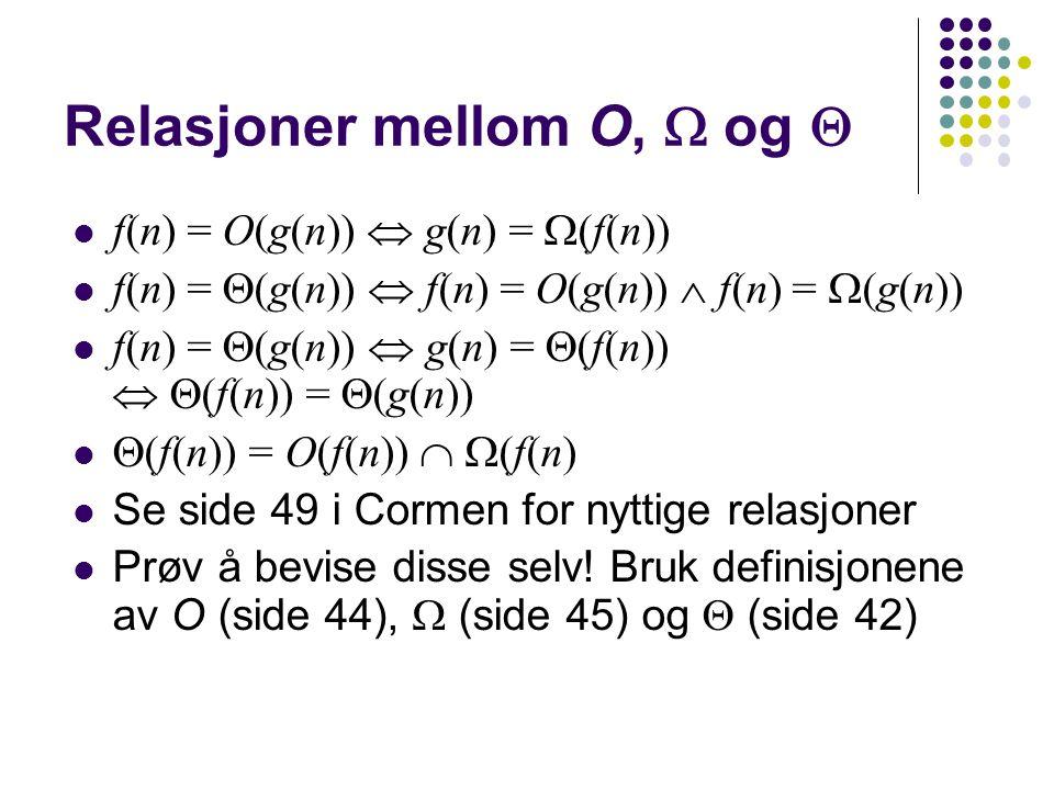 Relasjoner mellom O,  og  f(n) = O(g(n))  g(n) =  (f(n)) f(n) =  (g(n))  f(n) = O(g(n))  f(n) =  (g(n)) f(n) =  (g(n))  g(n) =  (f(n))  