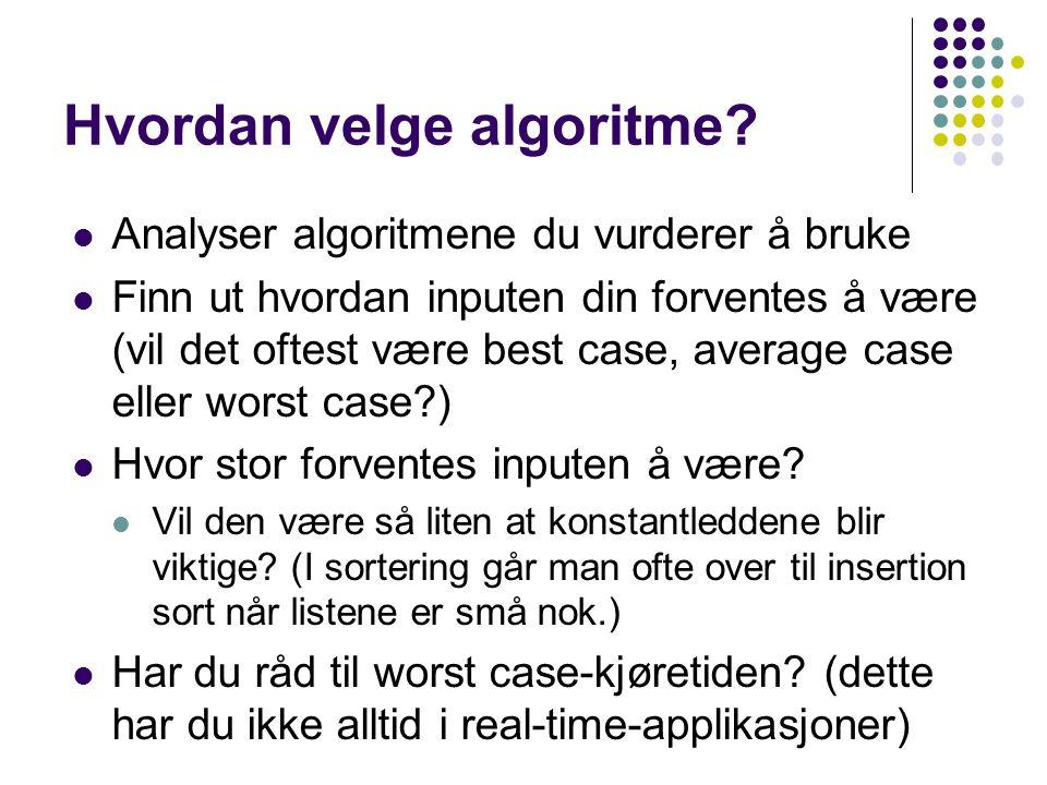 Hvordan velge algoritme? Analyser algoritmene du vurderer å bruke Finn ut hvordan inputen din forventes å være (vil det oftest være best case, average