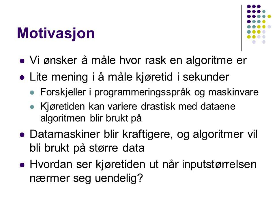 Motivasjon Vi ønsker å måle hvor rask en algoritme er Lite mening i å måle kjøretid i sekunder Forskjeller i programmeringsspråk og maskinvare Kjøreti
