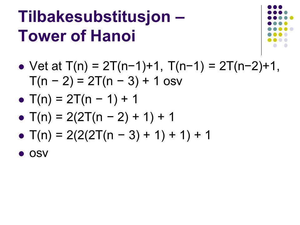 Tilbakesubstitusjon – Tower of Hanoi Vet at T(n) = 2T(n−1)+1, T(n−1) = 2T(n−2)+1, T(n − 2) = 2T(n − 3) + 1 osv T(n) = 2T(n − 1) + 1 T(n) = 2(2T(n − 2)